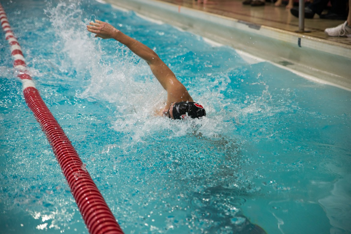 The Red saw a 1-2-3 sweep of 100-yard breaststroke.