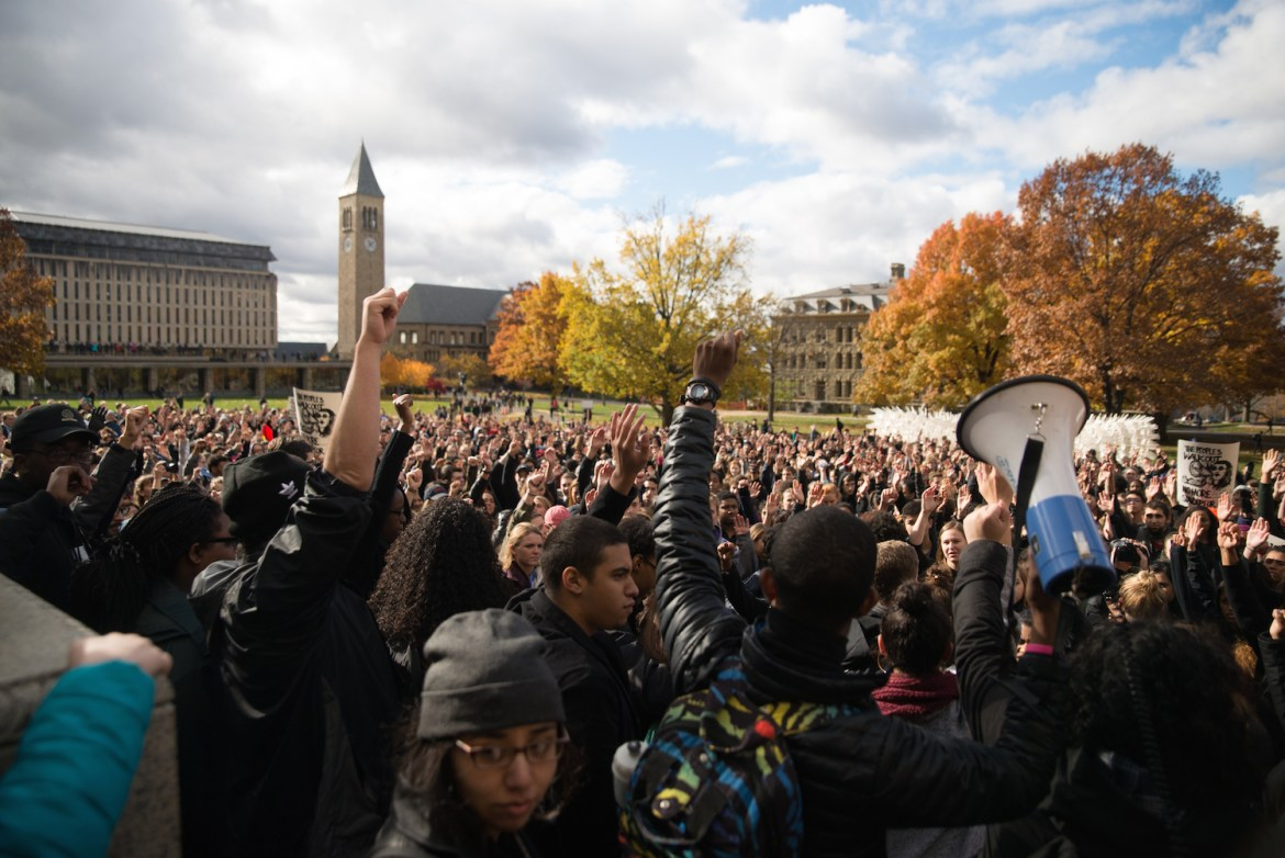 Hundreds of Cornellians and Ithacans joined to protest the 'hate speech' prevalent throughout Donald Trump's presidential campaign.