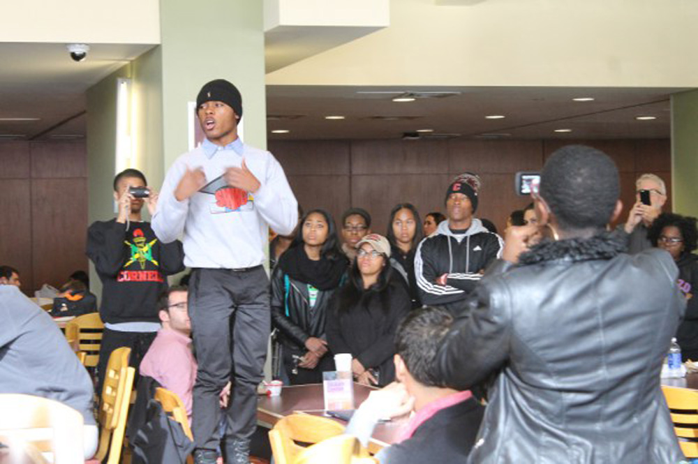 "Members of Black Students United held a ""guerilla style"" protest in Trillium on this day last year."