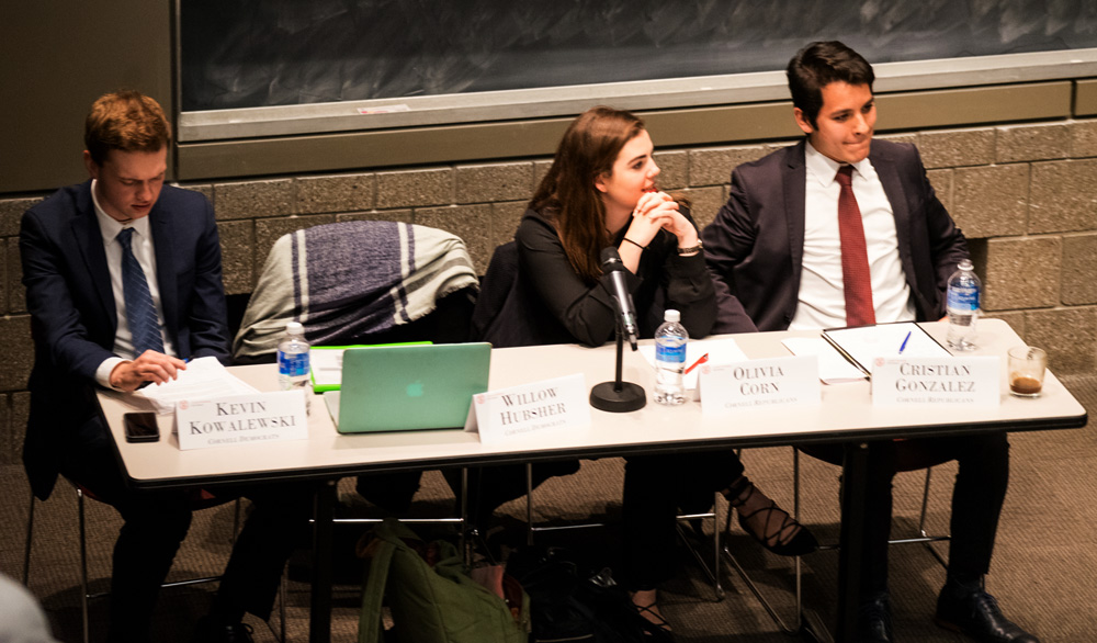 Partisan positions | Members of Cornell Democrats and Cornell Republicans debate hot button policy issues.