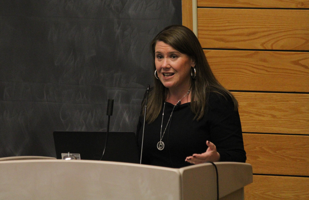 Prof. Jennifer Lawless, government, American University, explained the causes driving underrepresentation of women in politics at a lecture Monday.
