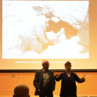 Prof. Marianne Hirsch, English and Comparative Literature, Columbia University, and Prof. Leo Spitzer, history, Dartmouth College discuss the importance of preserving photographs at a lecture Thursday.