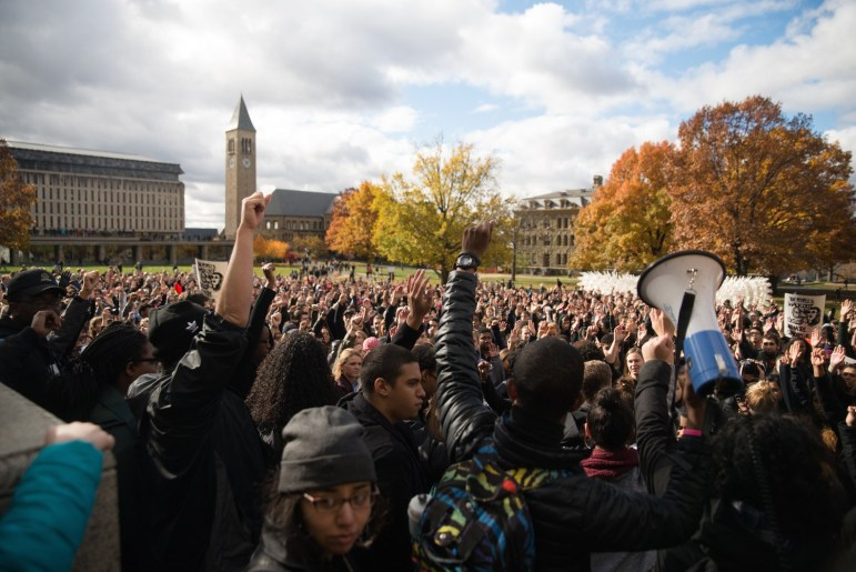 Hundreds of Cornellians and Ithacans joined to protest the 'hate speech' prevalent throughout Donald Trump's presidential campaign after the election.
