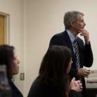 Prof. John Hagan, sociology and law, Northwestern University, speaks on prisons in Uris Hall on Monday.