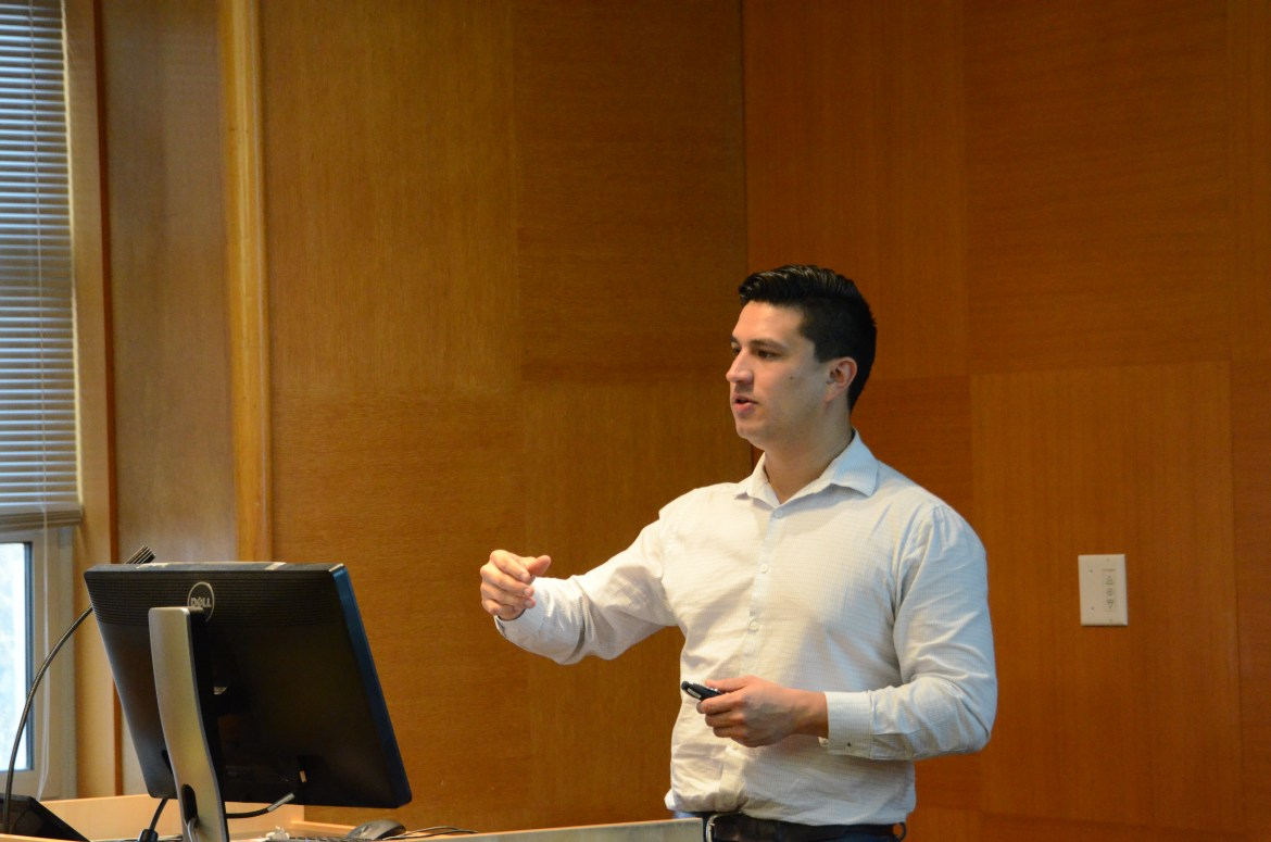 Prof. Sergio Garcia-Rios, government and Latina/o studies program and Prof. Matthew Hall, policy analysis and management explains the consequences of the recent Executive Order on the Latina/o community at a lecture on Wednesday.