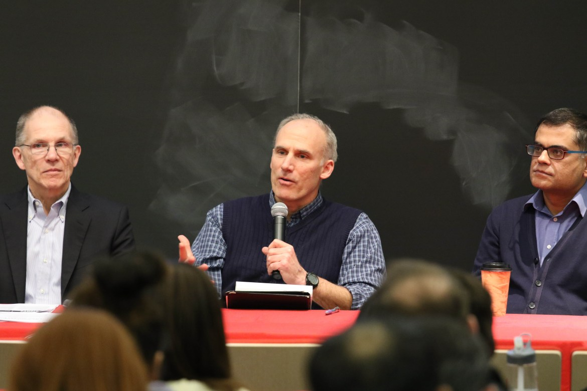 Speakers discuss the Immigration Ban at a  Panel at Warren Hall on 15th February 2017.