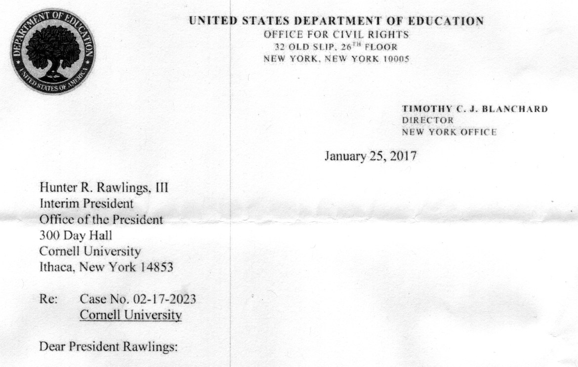The Department of Education's Office for Civil Rights notified President Rawlings in January that the office had opened a sixth active Title IX investigation into Cornell.