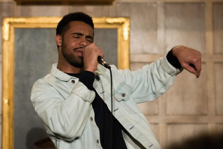 Paulitics, Paul Russel '19, performs at Risley Hall.