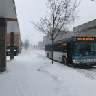 A TCAT bus during a blizzard in Ithaca in March of 2017.