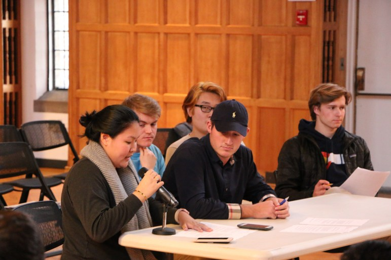 Diana Li '17 defends her resolution calling for the University to release private financial information. The Student Assembly tabled the resolution on Thursday.