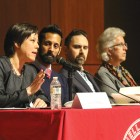 A panel, representing deans and Cornell law professors, clarified University policy and responded to audience questions regarding concerns for DACA students.