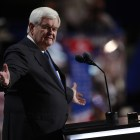 Newt Gingrich, the former House Speaker, addresses the Republican National Convention, at the Quicken Loans Arena in Cleveland.