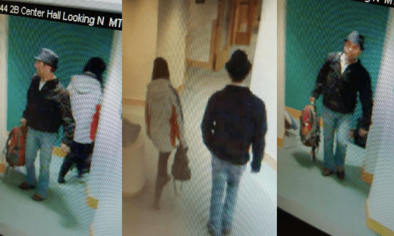 A compilation of three still images from security tape shows a man and woman Cornell Police suspect of carrying out a string of thefts on campus Thursday.