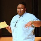 Spoken word poet Porsha Olayiwola shares her work in Klarman on Thursday.