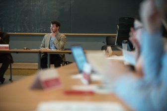 University Assembly Chair Gabriel Kaufman '18 speaks at the assembly meeting Tuesday.