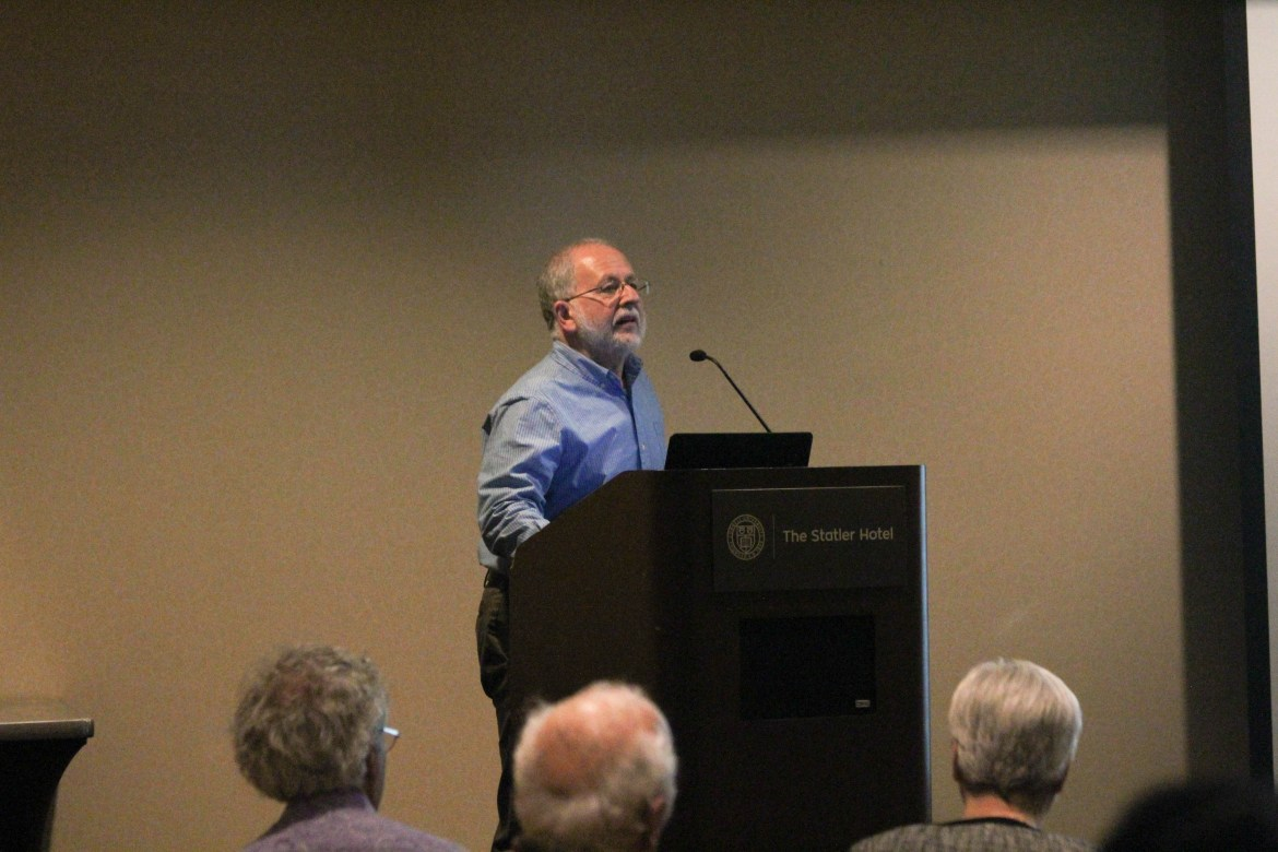 Prof. Ellner discusses the Leadership in Honesty and Reliable Knowledge Resolution in the Statler Ballroom on Wednesday.