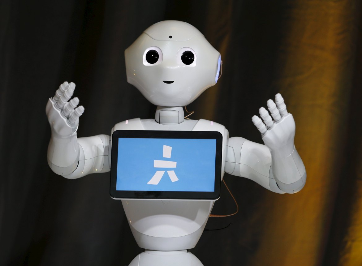 Pepper, an emotional Robot, greets conference attendees during the Wall Street Journal Digital Live  conference at the Montage hotel in Laguna Beach, California October 20, 2015.