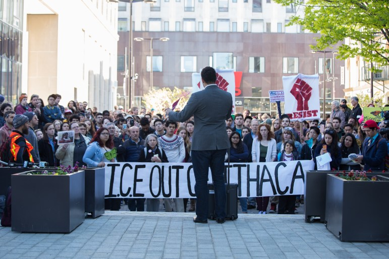 Svante Myrick '09 addresses protesters who were responding to ICE's May 2017 arrest of a Mexican man who had been living in Ithaca.