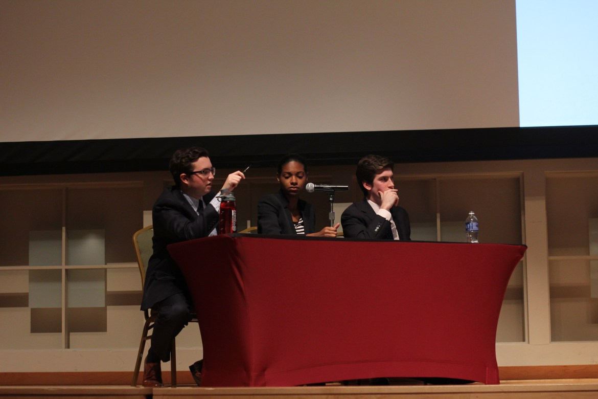 Natalie Brown '18 (center) participated in a debate against Austin McLaughlin '18 last year. The two would become presidents of Cornell Democrats and Cornell Republicans, respectively.