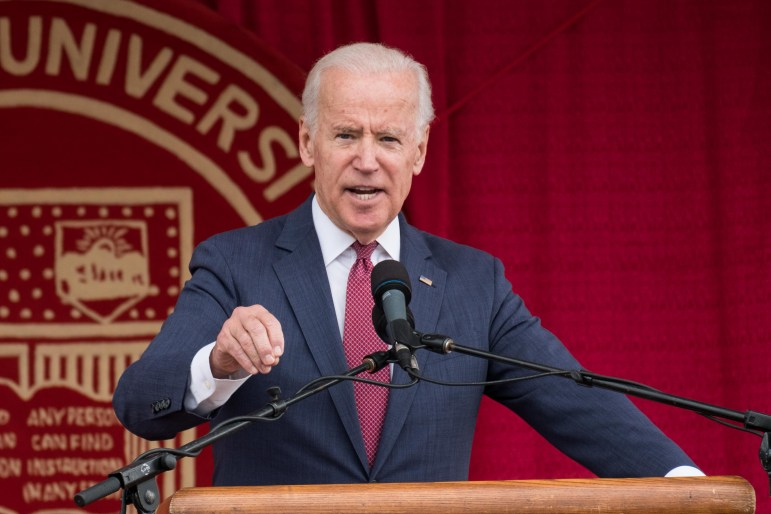 """Biden, speaking at Schoellkopf Field on Saturday, told students to """"go out and wake us up."""""""