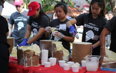 CALS Students scoop up Martha's Bits and Bytes at the Street Fair — a special inaugural flavor by Cornell Dairy.