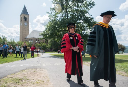 Cornell President Martha Pollack processes with former colleague Dartmouth President Philip J. Hanlon.