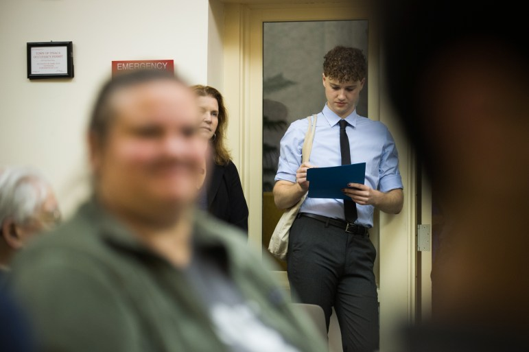 Reed Steberger '13 waits to withdraw from the County Legislature campaign at Ithaca Town Hall, September 7th, 2017. (Cameron Pollack / Sun Photography Editor)