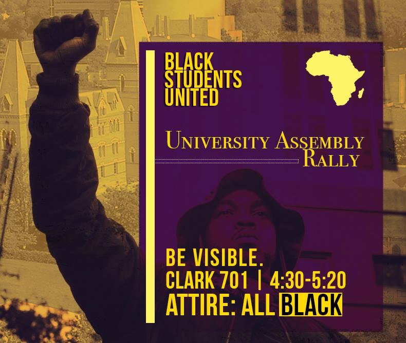 "Black Students United is encouraging students to wear black in support on Tuesday and said the group will be ""interrupting"" Tuesday's University Assembly meeting."