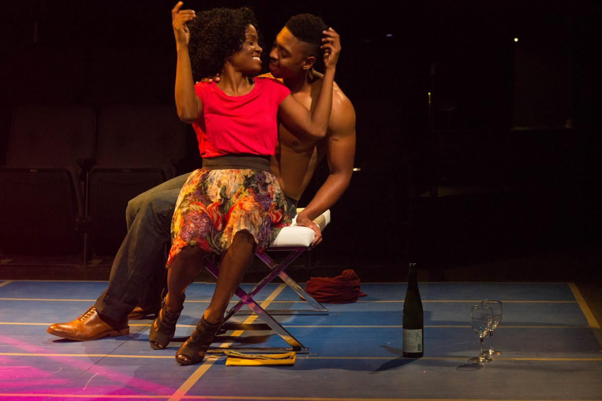 Folami Williams and Bryce Michael Wood in Smart People at the Kitchen Theatre.
