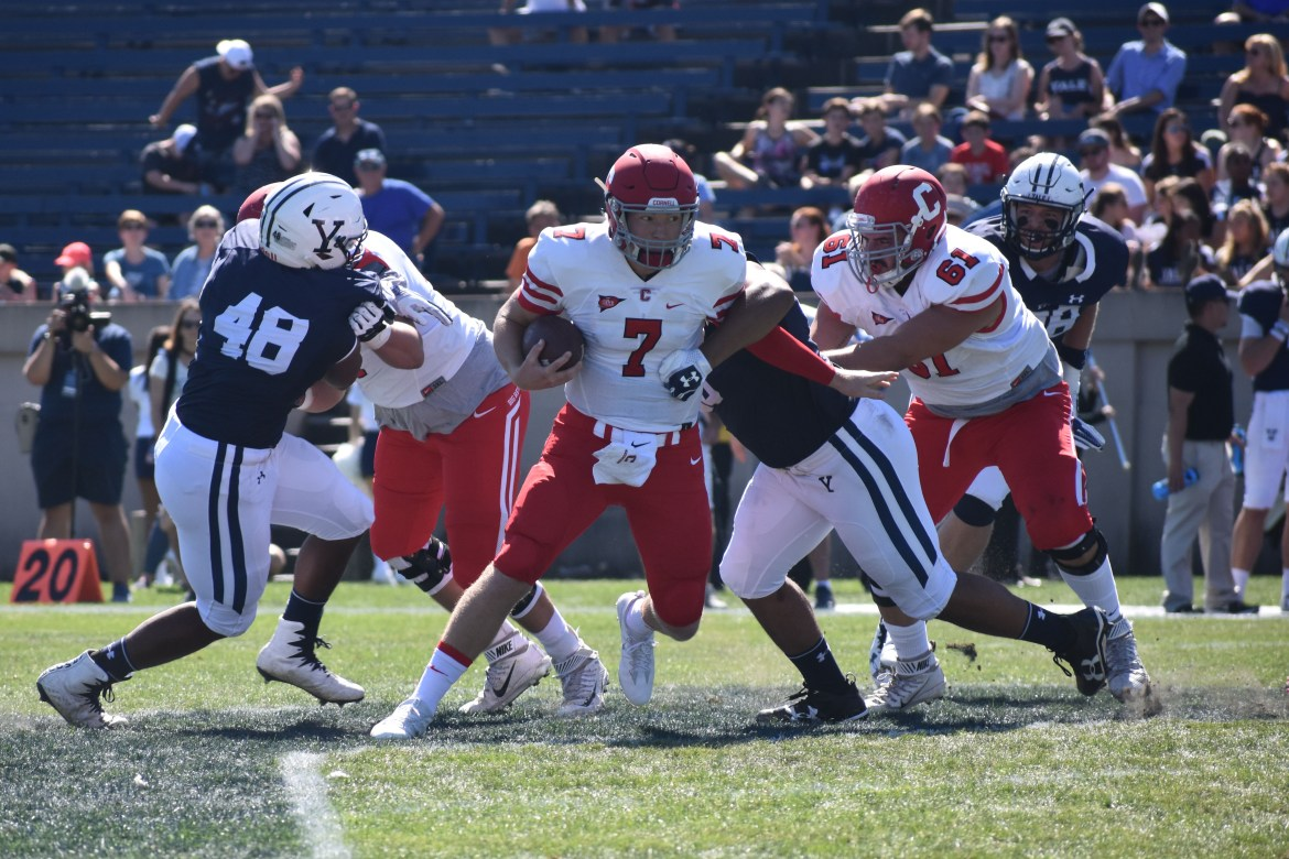 Dalton Banks uses his feet at the Yale Bowl Saturday. Banks would eventually be taken out of the game to injury.