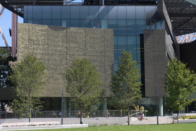 The Emma and Georgina Bloomberg Center is the main academic building on the Cornell Tech campus.