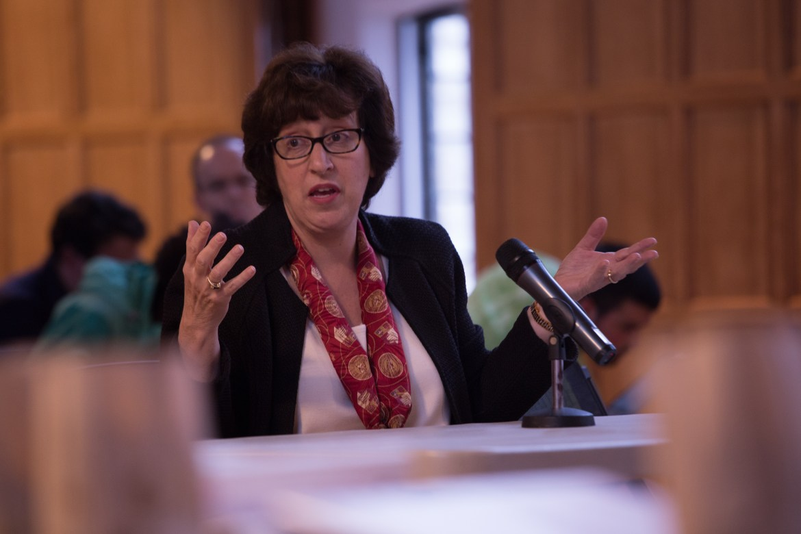 Martha Pollack addresses the SA in April 2017. Pollack issued a letter to President Trump on Friday urging him not to end the DACA program.