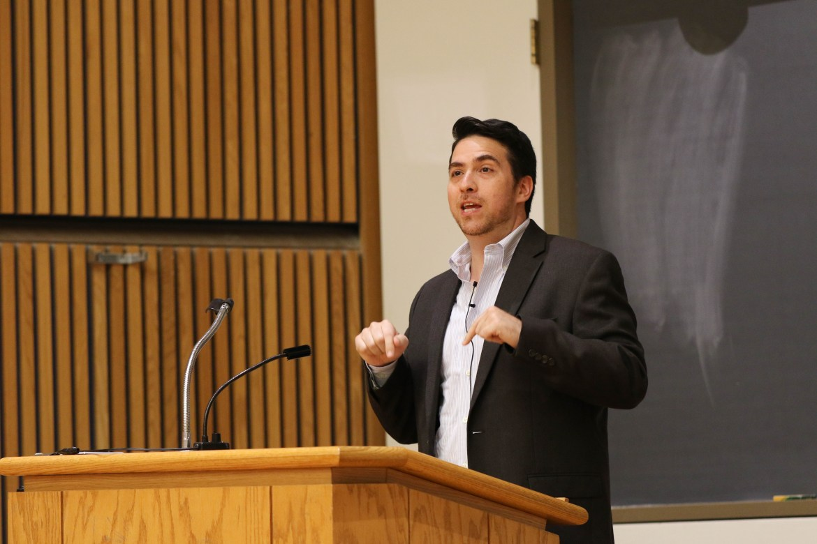 Shulem Deen details his experience in a Hasidic Community and his eventual choice to abandon the community at a lecture Tuesday.