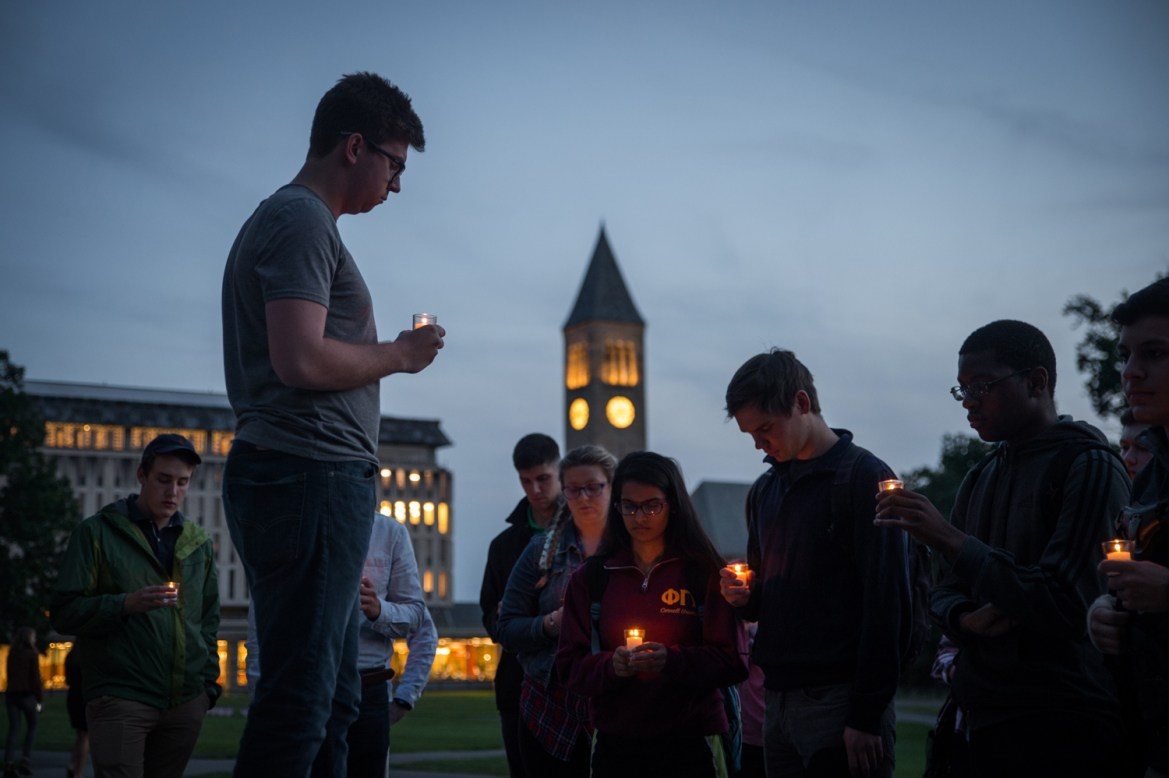The Cornell chimes remained silent as students remembered those lost on 9/11.