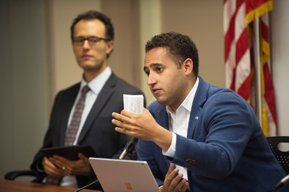 Svante Myrick '09 backed away from a veto in an interview on Friday morning, paving the way for an amended budget by Common Council to pass next week. Myrick is pictured above at a September meeting.
