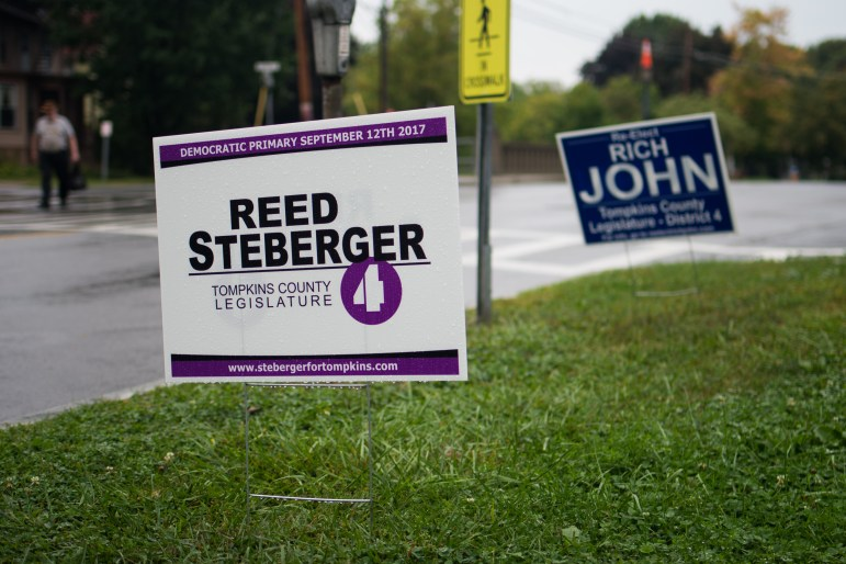 Reed Steberger '13 is running against the incumbent, Rich John '81, for the District Four spot on the Tompkins County Legislature.