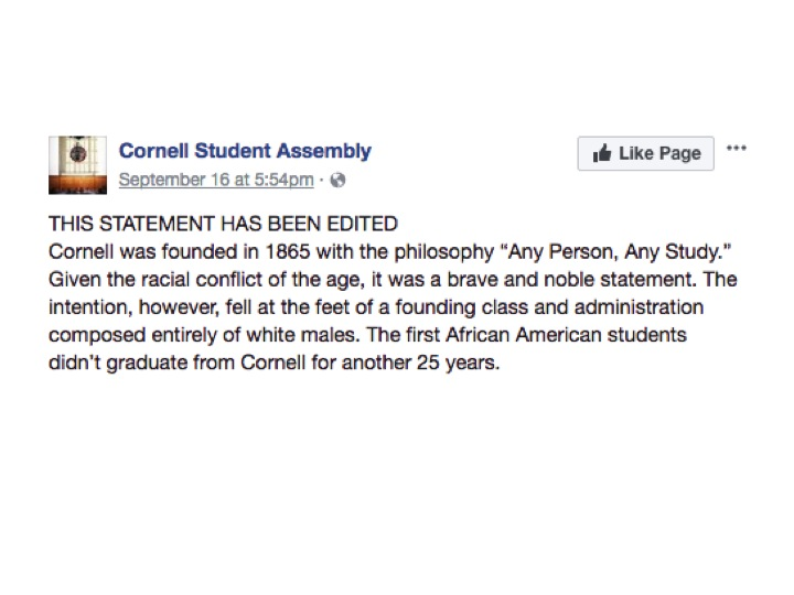 Following the assault of a black student in Collegetown on Friday, Student Assembly posted a statement on its Facebook page without the approval of the majority of the assembly.