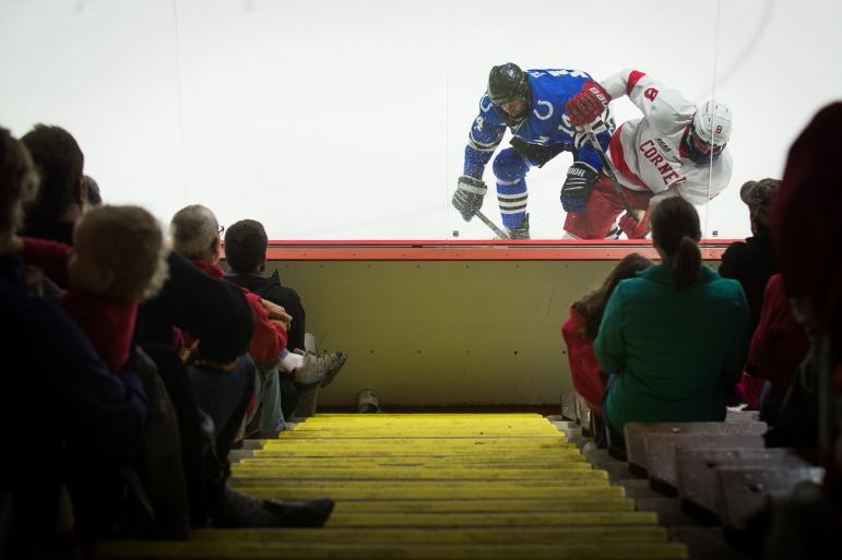 Cornell men's hockey completed the sweep Saturday night with a 3-0 shutout at home. (Cameron Pollack/Sun Photography Editor)