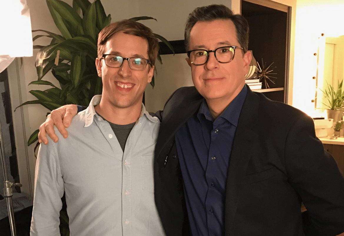 """Josh Greenbaum '01, left, wrote and directed a documentary about a show that """"spectacularly failed"""" despite a cast that featured Stephen Colbert and many other comedic greats."""
