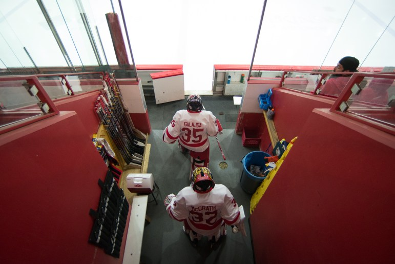 Freshman Matt Galajda (front) leads the team out ahead of the 5-1 win over UAH Friday. The freshman made 28 saves in his debut.