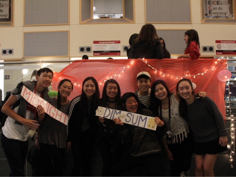 Students pose at the Chinese Students Association's annual midnight dim sum meal on Friday.