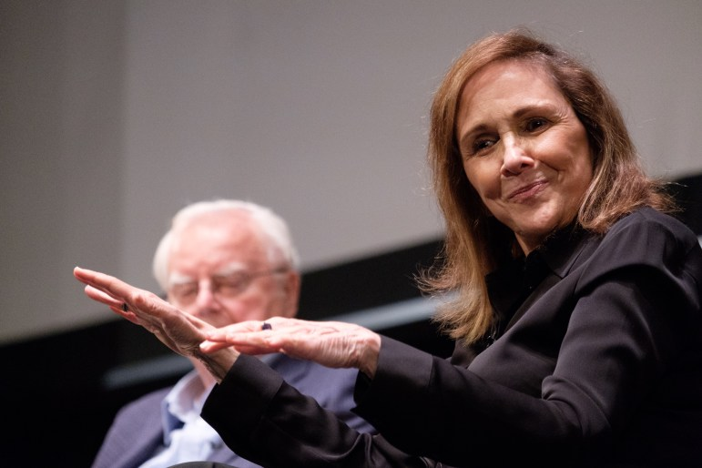 "Ann Druyan, Frank Drake, Steve Squyres, and Lisa Kaltenegger host ""40 Years of Cosmic Discovery,"" a panel celebrating NASA's Voyager 1 mission, at Bailey Hall on Thursday, 19 Oct. (Michael Suguitan / Sun Staff Photographer)."