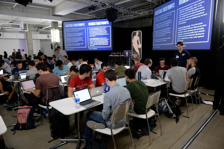 Students partake in the 2017 NBA Hackathon. Three Cornellians were in attendance, among other participants from the Ivy League.