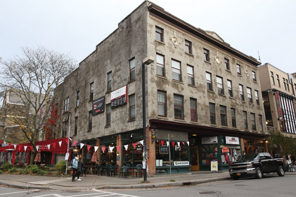 The Chacona Block, which is owned by Student Agencies and houses Collegetown Bagels and Ruloff's, is set for demolition to make room for an apartment complex.