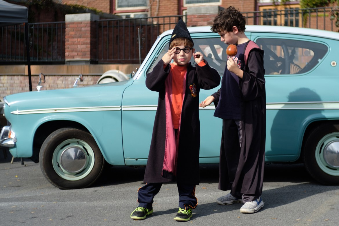 Children dress up as Harry Potter to celebrate the annual Wizarding Weekend.