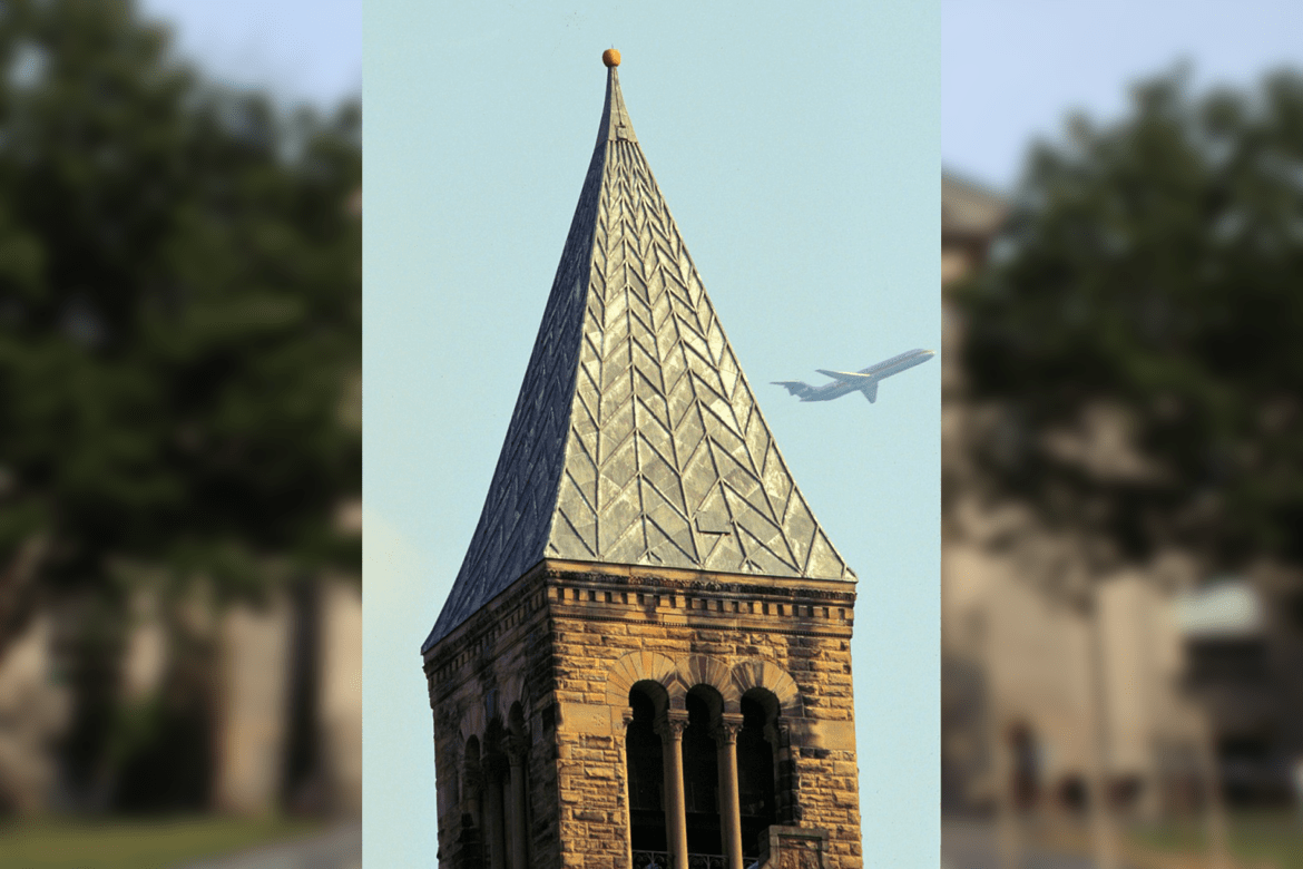 The pumpkin sits atop McGraw Tower on Oct. 7, 1997.