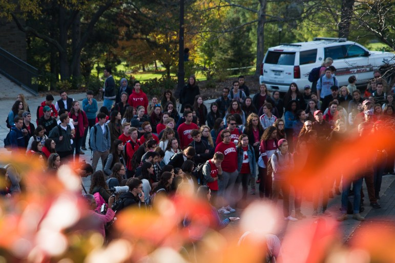 "The crowd listens to speakers at the ""Stand Together"" rally on Ho Plaza, Oct. 23, 2017, two days after anti-semitic posters and stickers were found across campus. (Cameron Pollack / Sun Photography Editor)"