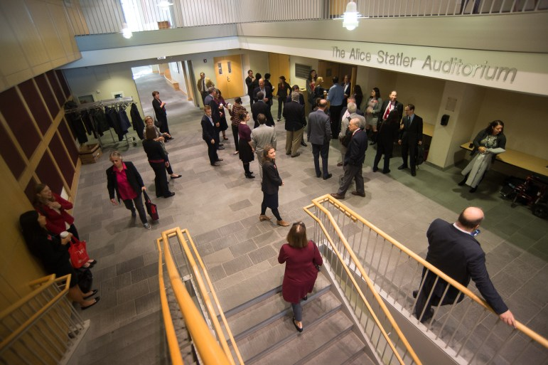 Trustees and Cornell Council members file into Alice Statler Auditorium in Statler Hall, Oct. 20, 2017. (Cameron Pollack / Sun Photography Editor)