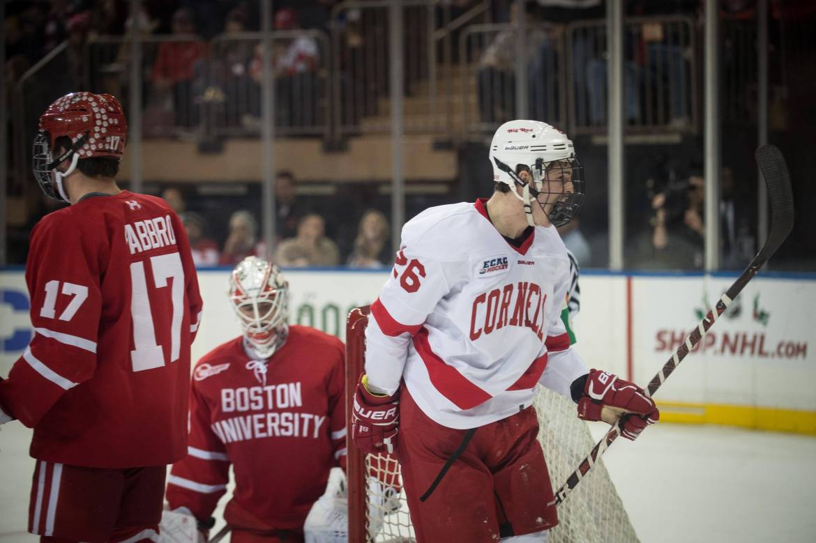 Small-town Canada native Tristan Mullin celebrates his first collegiate goal Saturday night at Madison Square Garden. His tally in the third period proved to be the game-winner for Cornell's first Red Hot Hockey win.