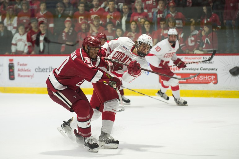 Freshman forward Morgan Barron attempts a shot against Harvard. The freshman has a point in each of his first six games, including a the primary assist on Alec McCreas game-winner.
